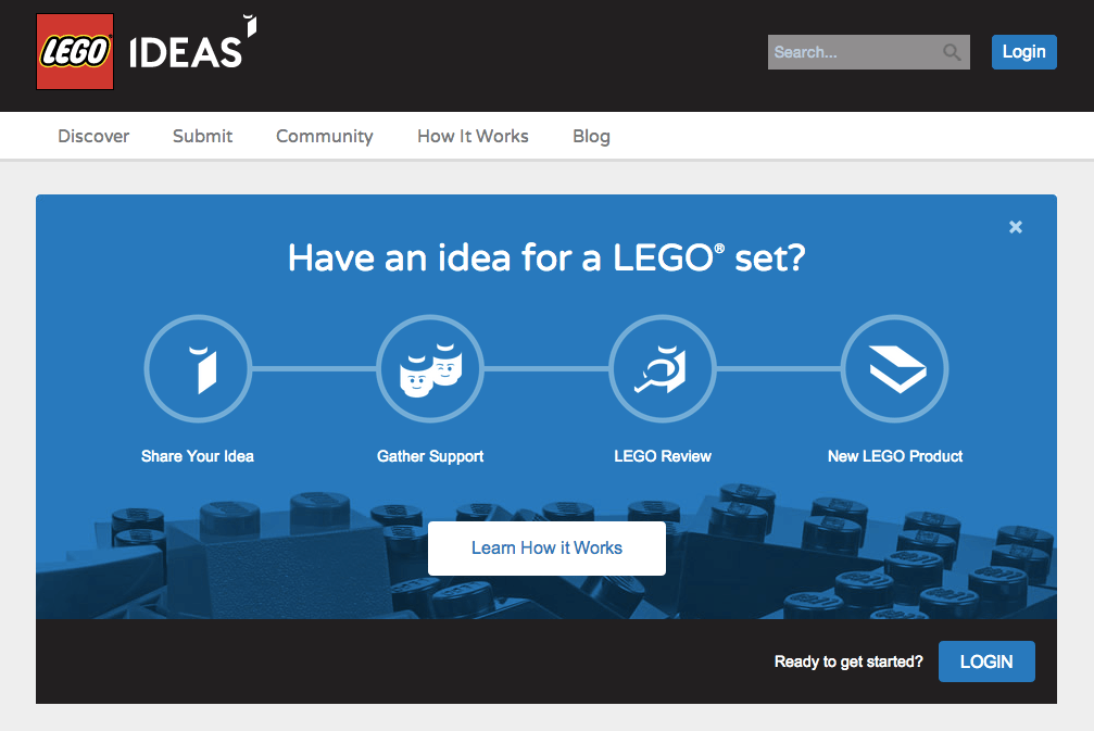 LEGO website page to submit ideas for new LEGO sets