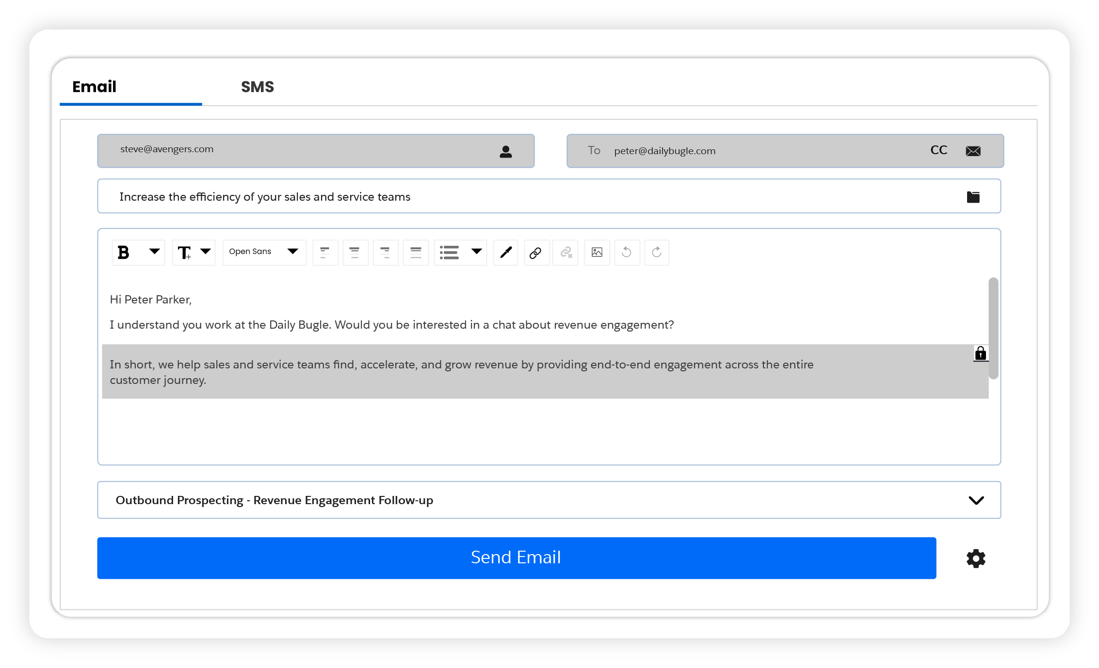 Sales Engagement Email Template Lock Text